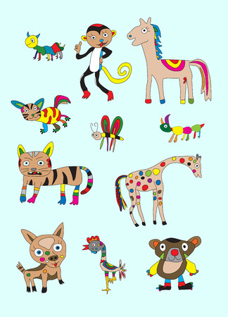 Set animal cartoon  Art vector illustration Vector