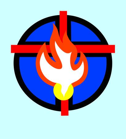 espiritu santo: Cruz con la paloma el espíritu Santo, el diseño de arte vectorial Vectores
