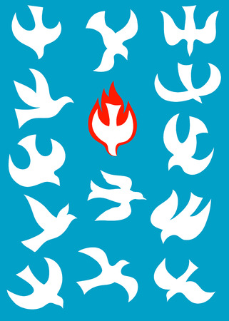 Holy spirit icon set,  vector file  Vettoriali