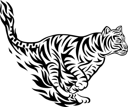 Tiger fire jumping art tattoo design  vector file  Vector