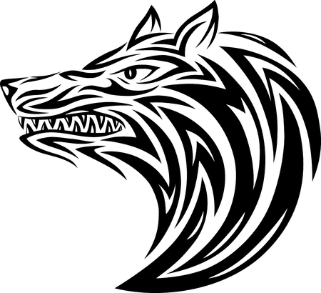 Wolf  head tribal tattoo design  vector file