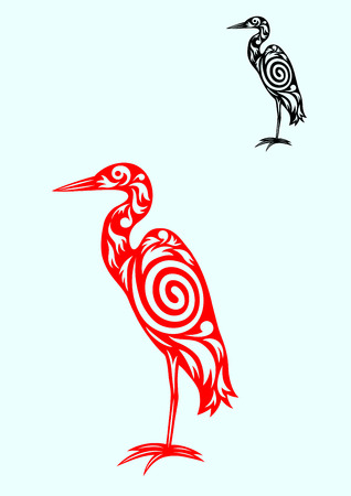 Egret ornate art tribal design,  vector file  Vector