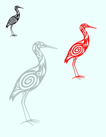 Heron ornate  vector art design  Vector