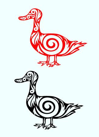 Duck ornate art vector illustration  Vector