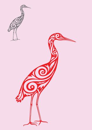 Egret-Heron ornate art vector illustration  Vector