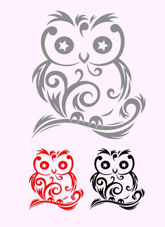 tatouage oiseau: Hibou Oiseau art tribal, fichier vectoriel et facile � utiliser Illustration