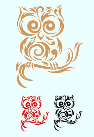 フクロウ鳥アート部族、ベクター ファイルで使いやすい