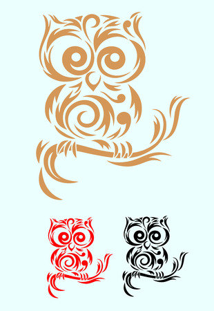 Owl  Bird art tribal, vector file and easy to use  Vettoriali