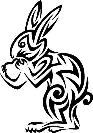 Rabbit tribal art vector design  Vector
