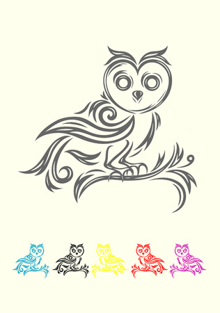 retro circles: Owl  Bird art tribal, vector file and easy to use  Illustration