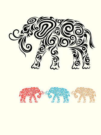 Elephant ornata art vector picture Vector