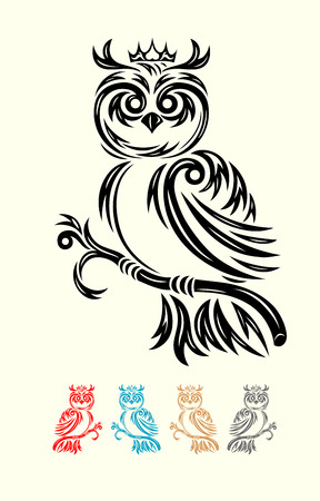 Owl with crown, art vector ornament  Vector