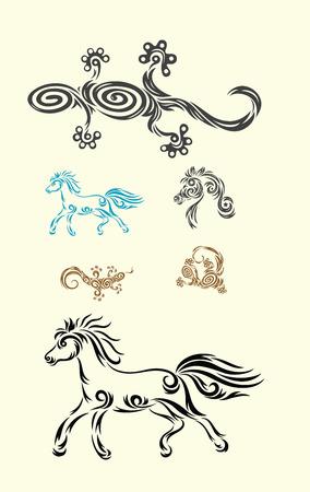 Lizard and horse, art vector decoration  Vector