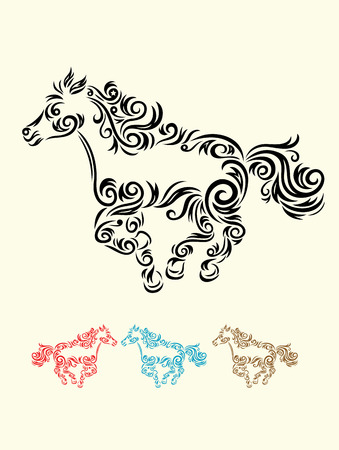Horse floral art vector decoration  Vector