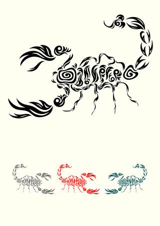Scorpion, tribal art tattoo design, vector file  Vector