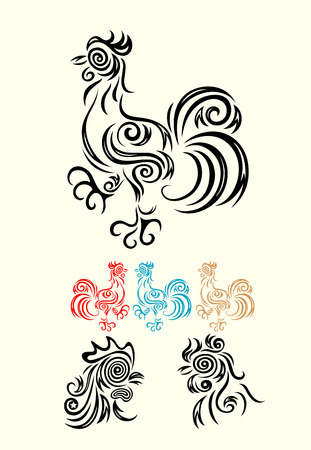 Rooster head tribal art vector design Vector