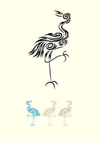 egret: Egret ornate art tribal design,  vector file Illustration