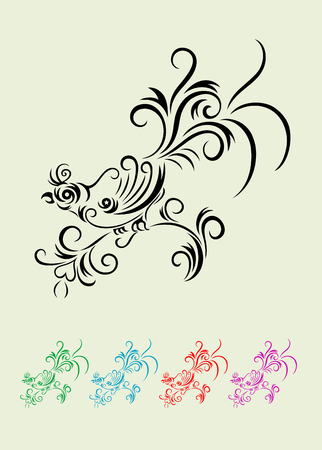 Bird and rabbit, ornate art vector  Vector