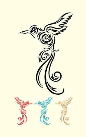 Humming bird flying, art vector decoration Illustration