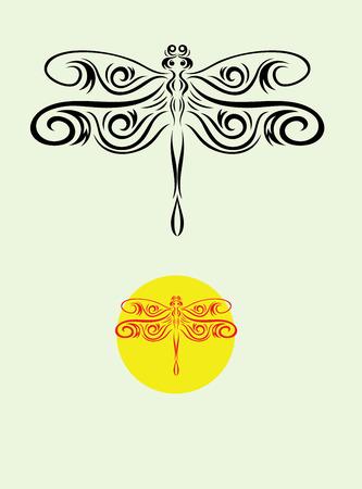 Dragonfly ornate art vector decoration Vector