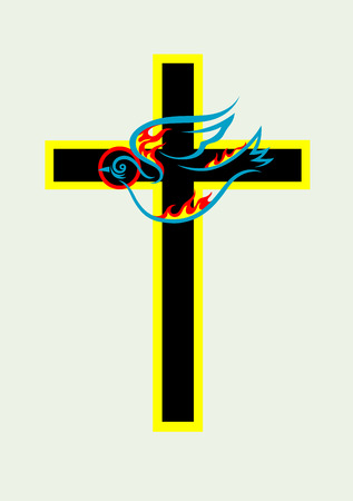 espiritu santo: Cruz con la paloma esp�ritu Santo, dise�o de arte vectorial