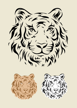 Tiger face art tattoo design, vector file  Illustration