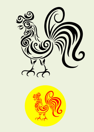 Rooster art vector decoration Vector