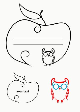 Label with apple and owl bird decoration  Vector