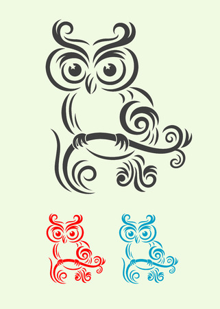Owl  Bird art tribal, vector file and easy to use  Stock Illustratie