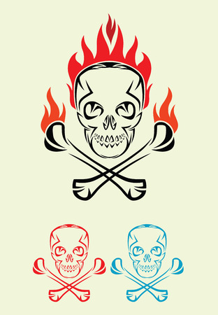 Skull with fire, art vector decoration Vector