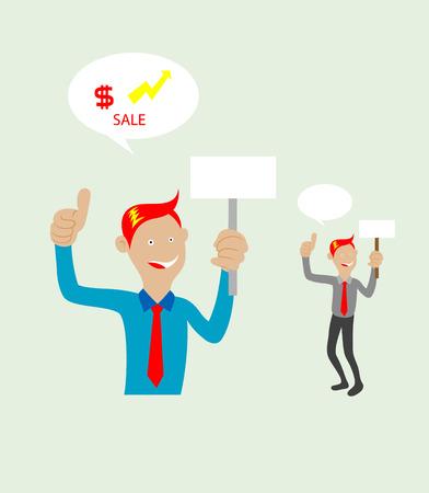 salesperson: businessman thumbs up mascot, art vector design Illustration