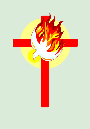 Christian cross with Holy spirit, art vector design