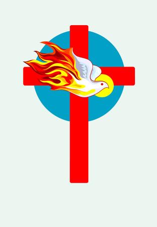 espiritu santo: Cruz con el esp�ritu Santo, dise�o de arte vectorial