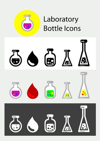 Lab bottle icon, art vector set design Vector