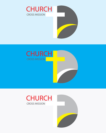 선교 활동 교회 로고, 예술 벡터 디자인