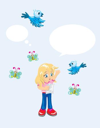 Little girl with bird and butterfly, art vector design Vector