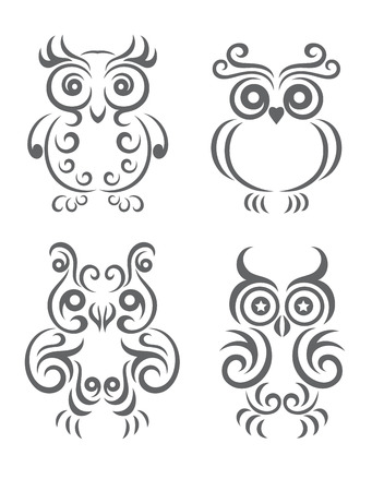 Owl ornate set, art vector decoration