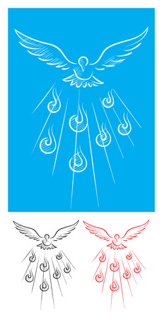 Dove of Holy spirit sketch, art vector picture Vettoriali