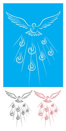 espiritu santo: Paloma de boceto esp�ritu Santo, la imagen del arte del vector Vectores