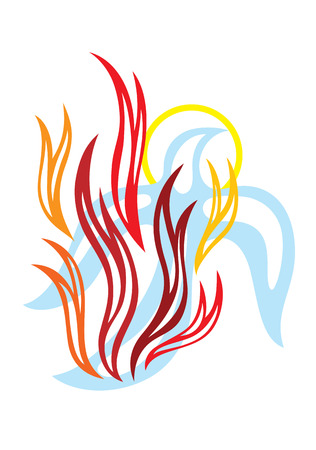 Fire of Holy spirit, art vector design Vettoriali