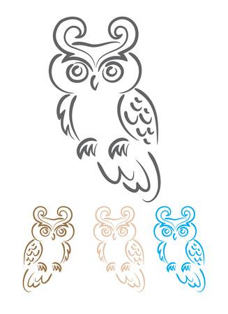 Owl ornate Vector