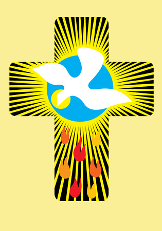 Cross with Holy spirit, art decoration Vector