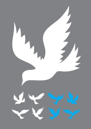 paloma volando: Paloma conjunto volar, silueta arte Vectores