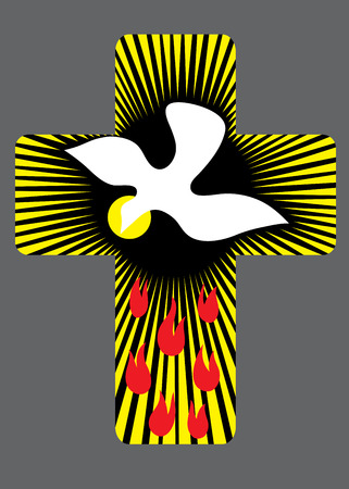 Cross with Holy spirit decoration Vector