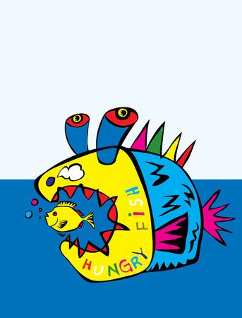 Fish naive cartoon, art vector illustration Vector