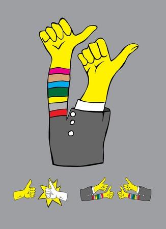 Thumbs up set, art vector illustration Vector