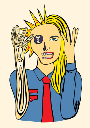 Stress, busy woman, art vector illustration Vector