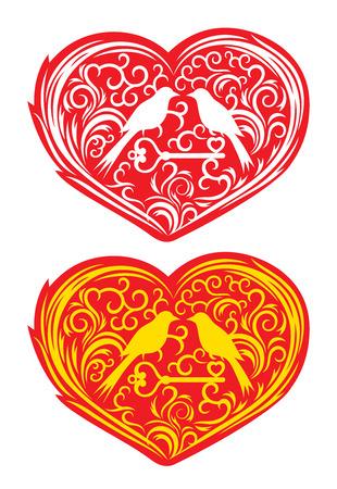 Heart with bird ornament, art vector decoration Vector