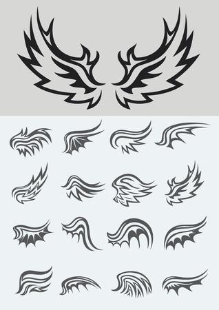 tatouage oiseau: ensemble d'aile, conception de vecteur Illustration