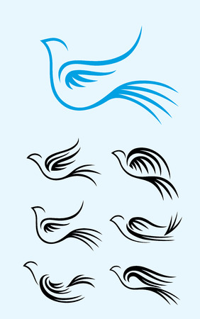 Flying Dove set, art vector design Illustration